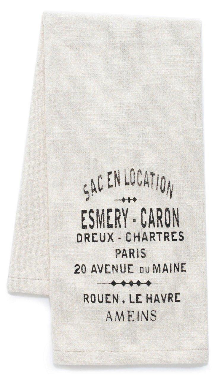 S/2 French Words Tea Towels, Beige
