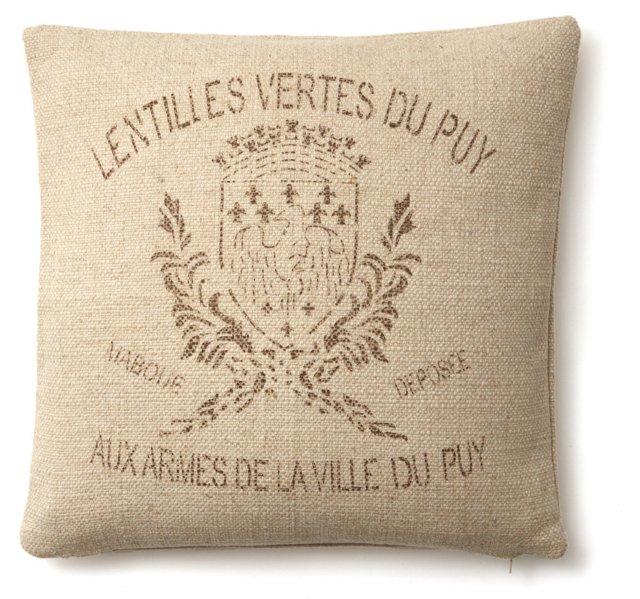 Crest 20x20 Linen-Blend Pillow, Natural