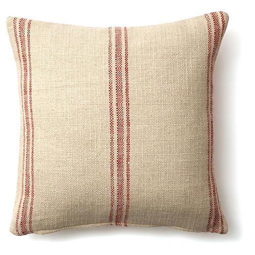 Striped Linen Pillow, Red Linen