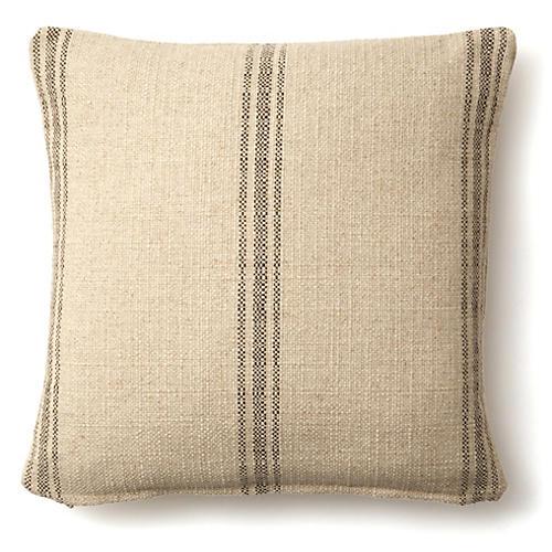 Striped Linen Pillow, Natural/Brown Linen