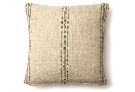 Striped 20x20 Linen-Blend Pillow, Brown