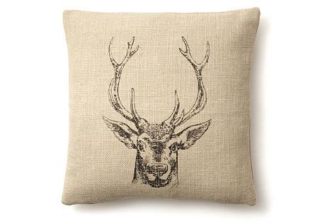 Deer 20x20 Linen-Blend Pillow, Natural