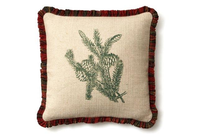Pinecone 20x20 Linen Pillow, Green