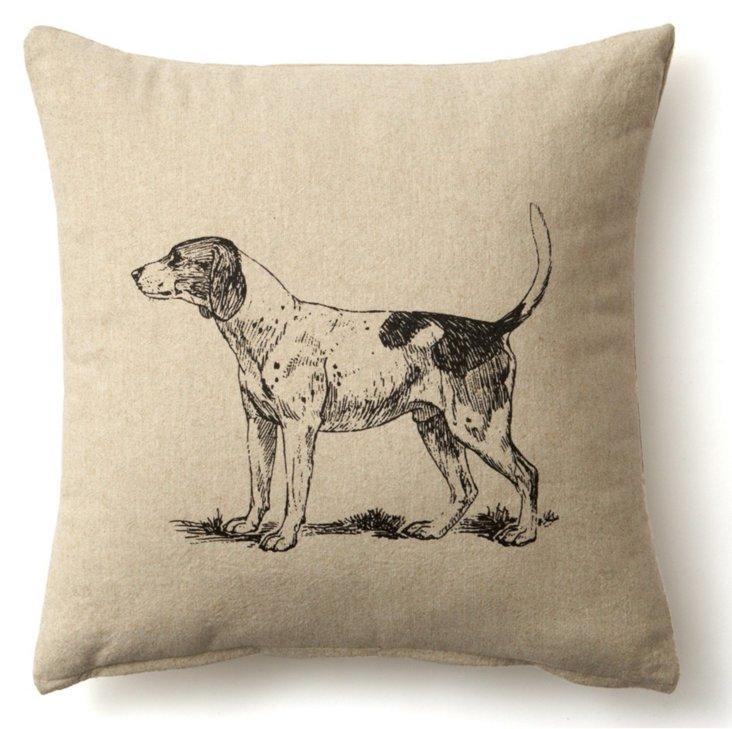 Dog 20x20 Linen Pillow, Natural