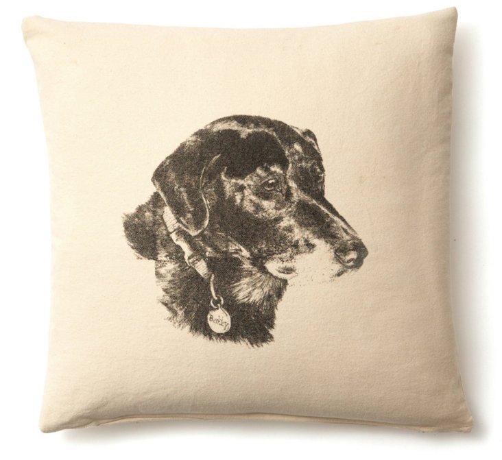 Fido 20x20 Linen-Blend Pillow, Natural