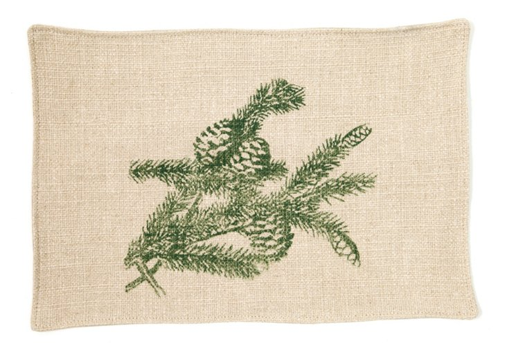 S/4 Pinecone Place Mats, Green