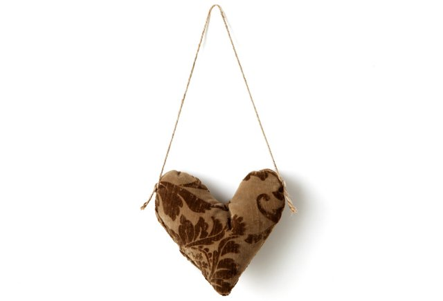 Patchwork Heart Ornament, Brown