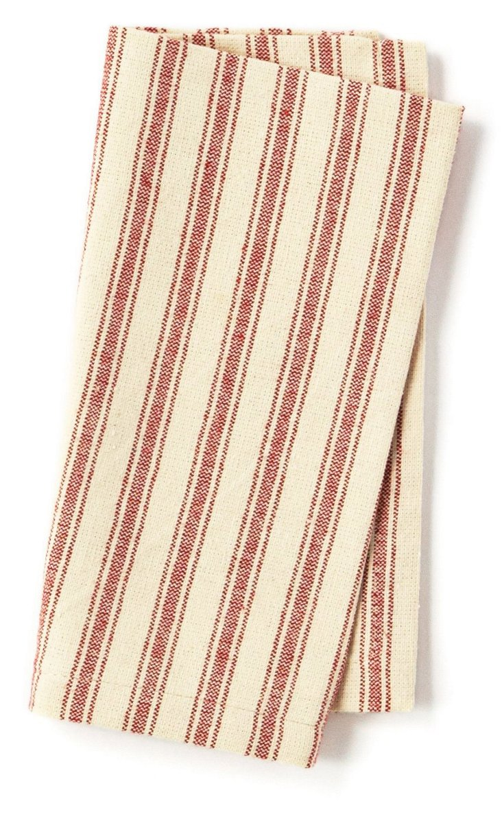 S/4 Striped Dinner Napkins, Red