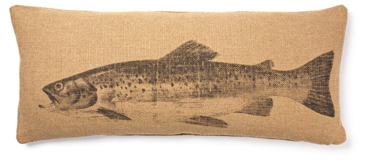 Fish 15x35 Linen-Blend Pillow, Natural