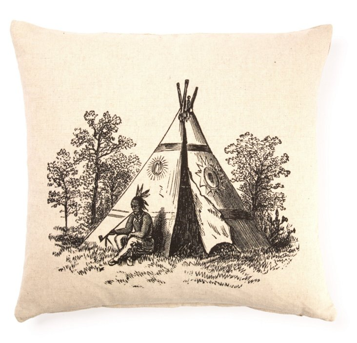 Tipi 20x20 Linen-Blended Pillow, Cream