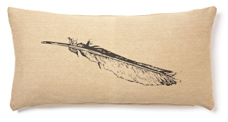 Feather 12x24 Linen-Blend Pillow, Black