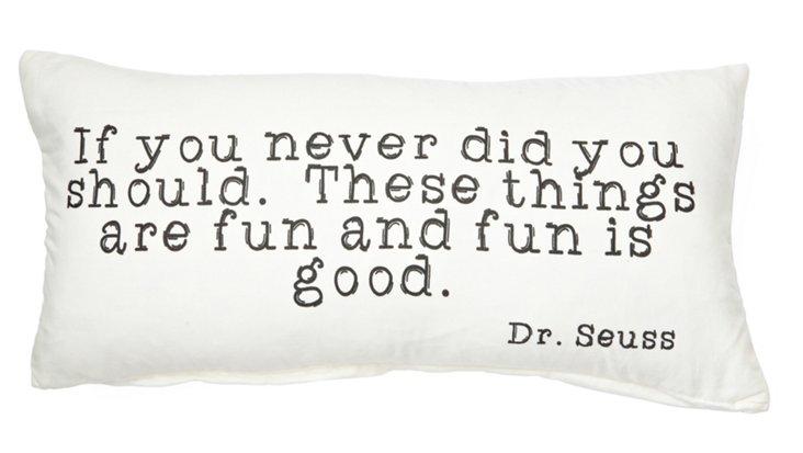 """Dr. Seuss """"Fun"""" 9x19 Pillow, White"""