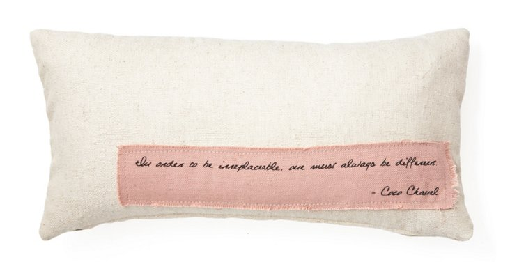 """Chanel """"Different"""" 12x24 Pillow, Natural"""