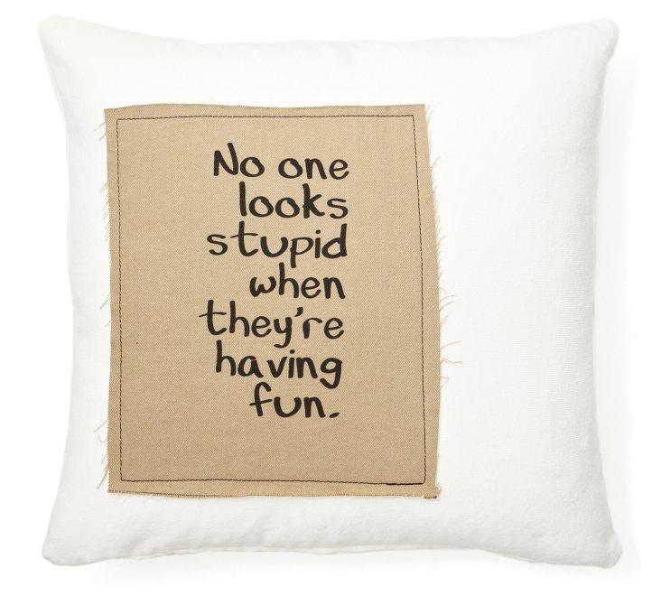 """Having Fun"" 20x20 Pillow, White"