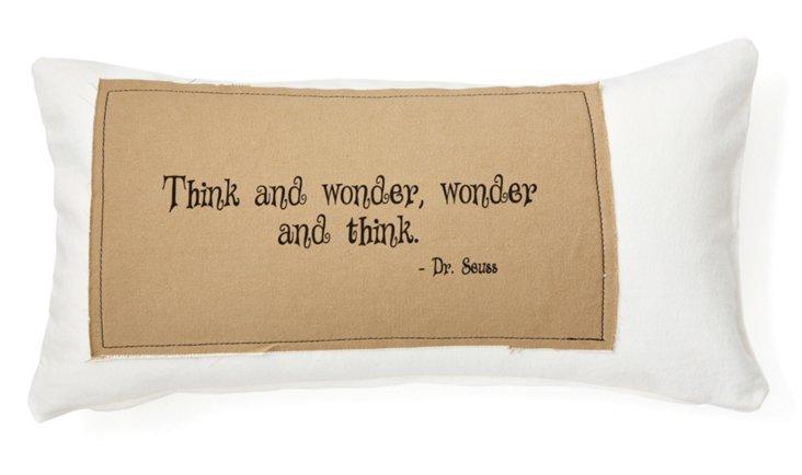 """Dr. Seuss """"Wonder"""" 12x24 Pillow, White"""