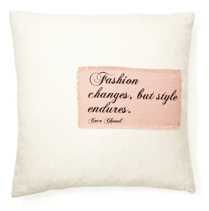 "Chanel ""Fashion"" 20x20 Pillow, Cream"