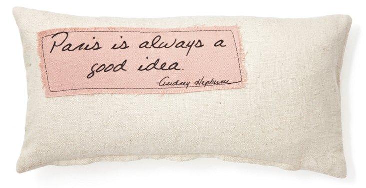 """Hepburn """"Paris"""" 12x24 Pillow, Natural"""