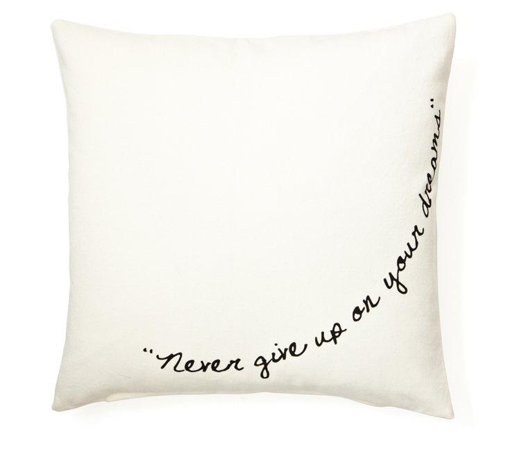 """""""Dreams"""" 20x20 Cotton Pillow, White"""