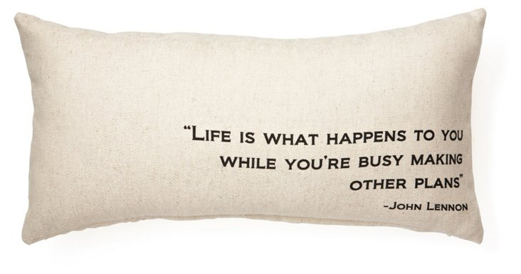 "Lennon ""Life"" 12x24 Pillow, Natural"