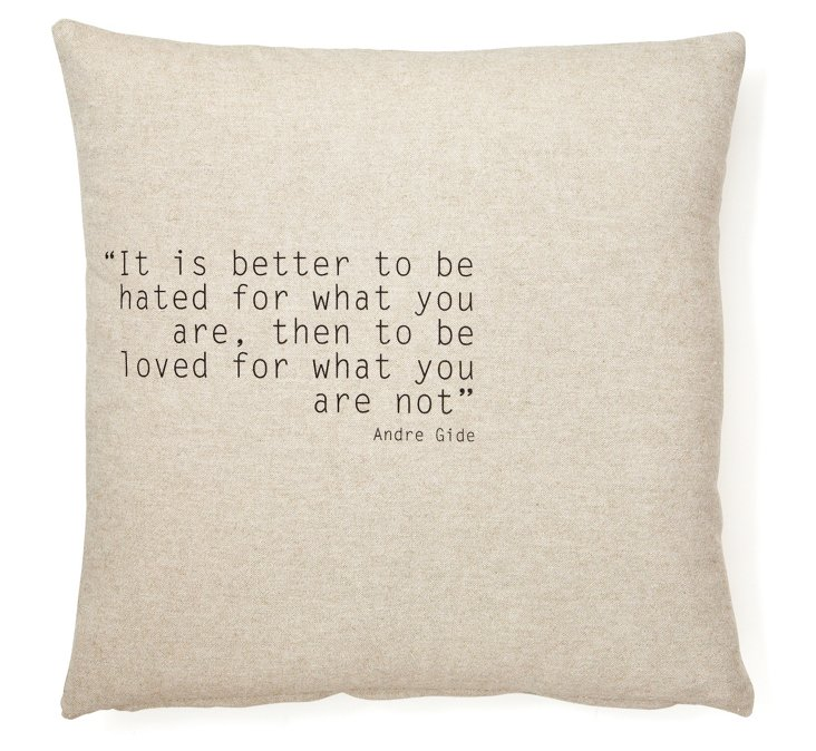 "Gide ""You Are"" 20x20 Pillow, Beige"