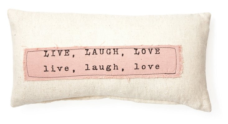 """Live, Laugh, Love"" 10x20 Pillow, Ivory"