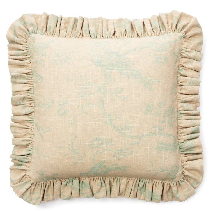 Bird Ruffle 20x20 Pillow, Spa