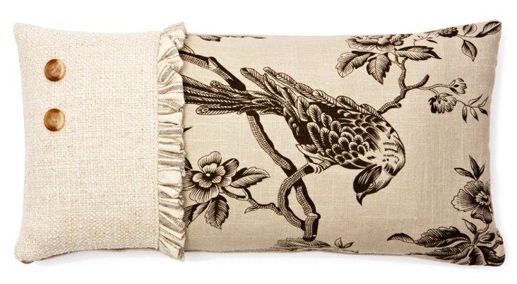 Bird Ticking Ruffle 10x20 Pillow, Wheat