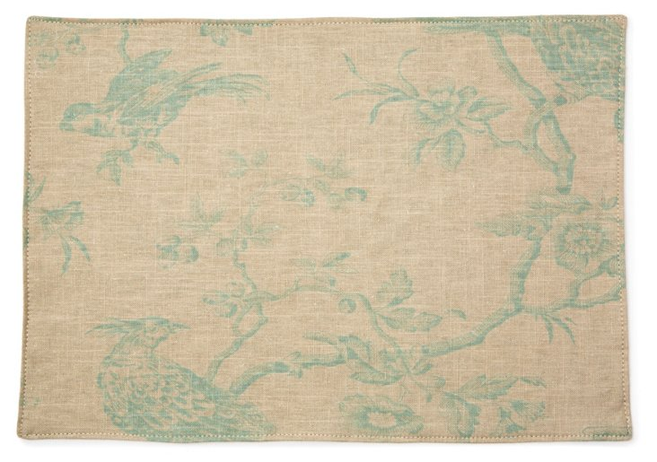 S/4 Spa Bird Toile Place Mats