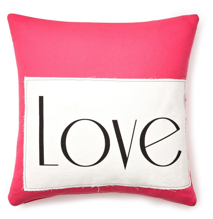 """""""Love"""" 20x20 Linen Pillow, Pink"""
