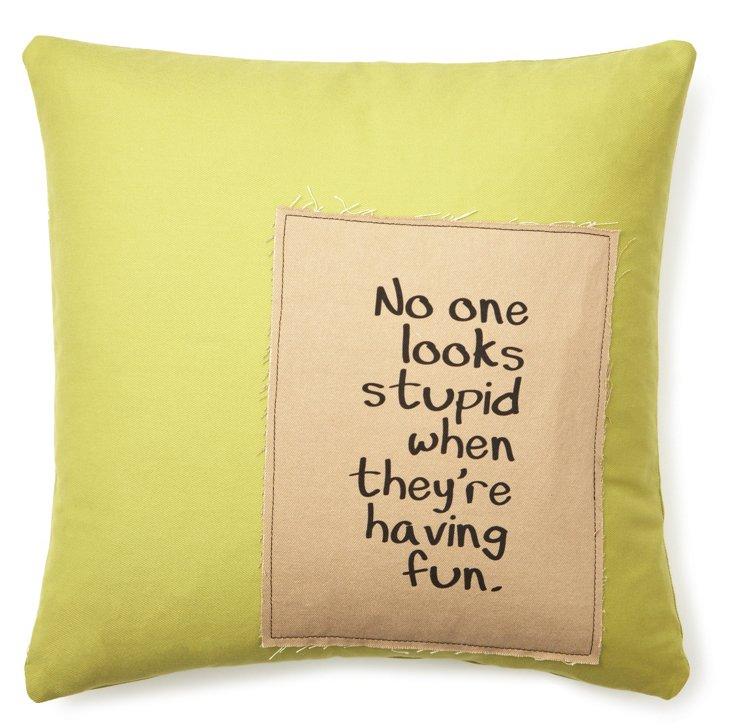 """""""Having Fun"""" 20x20 Linen Pillow, Green"""