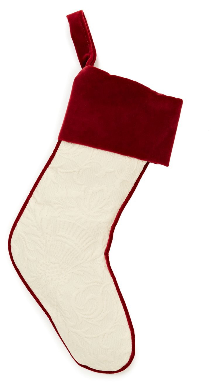 Ivory Matelassé Stocking, Red Velvet
