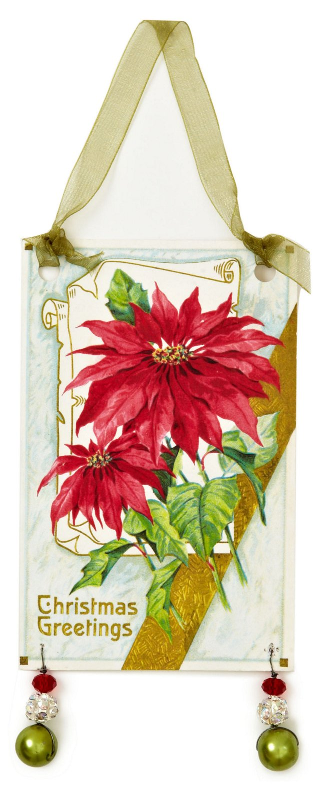 Poinsettia Card Ornament