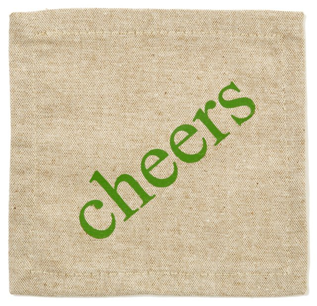 "S/6 ""Cheers"" Cocktail Napkins"