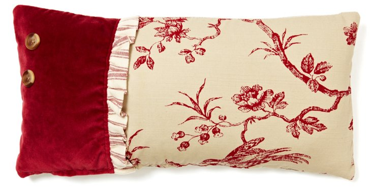 Toile 10x20 Cotton Pillow, Red