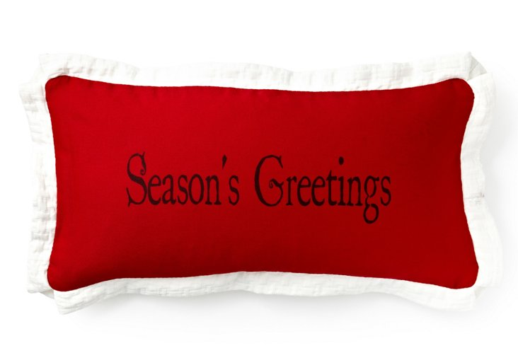 Season's Greetings 10x20 Pillow, Red