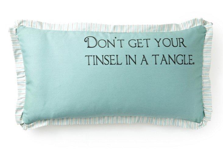 """""""Tinsel Tangle"""" 12x24 Pillow, Blue"""