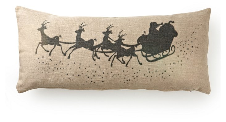 Santa's Sleigh 16x35 Pillow, Natural