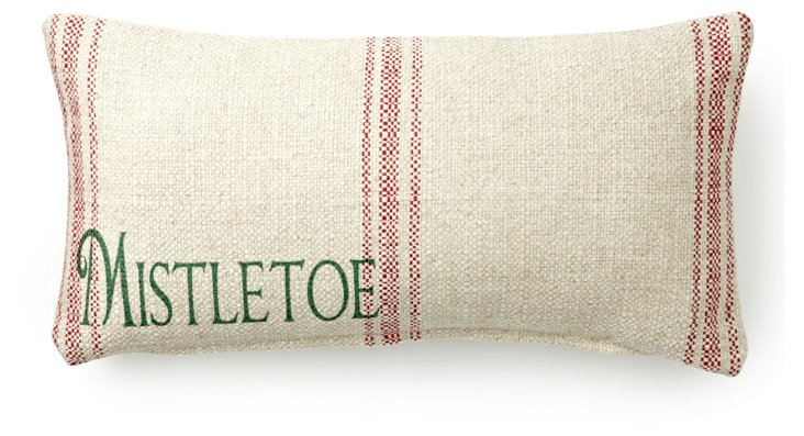 Mistletoe 10x20 Pillow, Natural