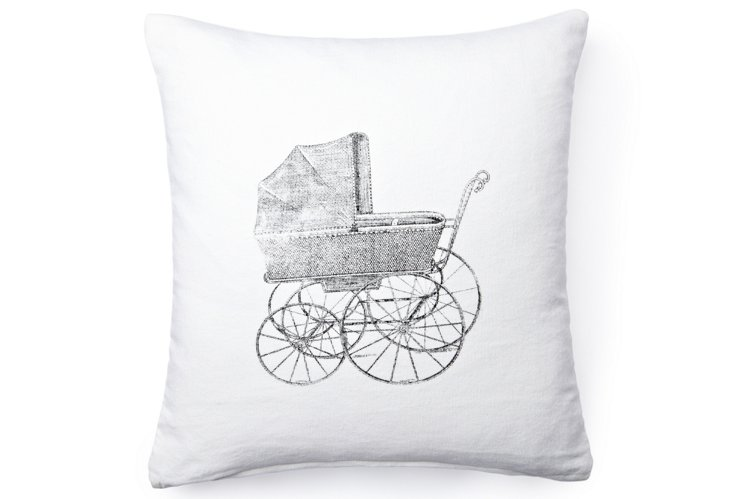 Baby Carriage Pillow, White