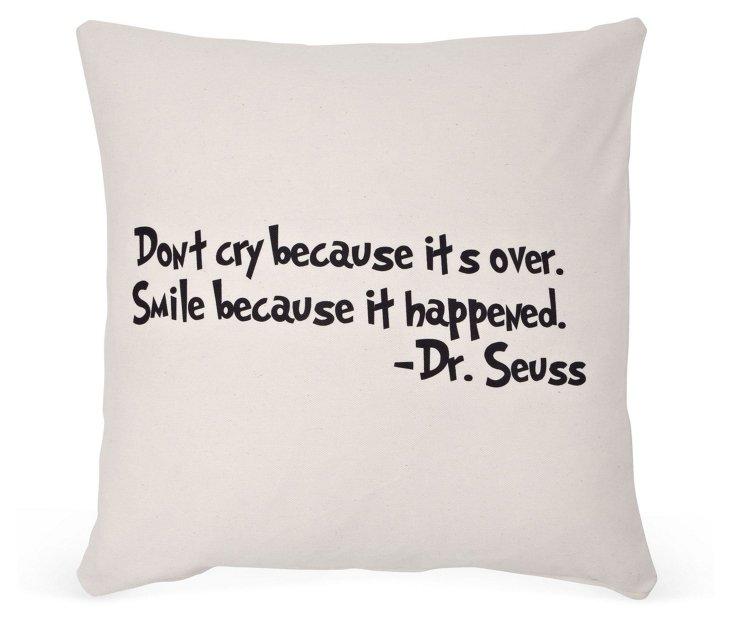 """Dr. Seuss """"Smile"""" 20x20 Pillow, Sand"""