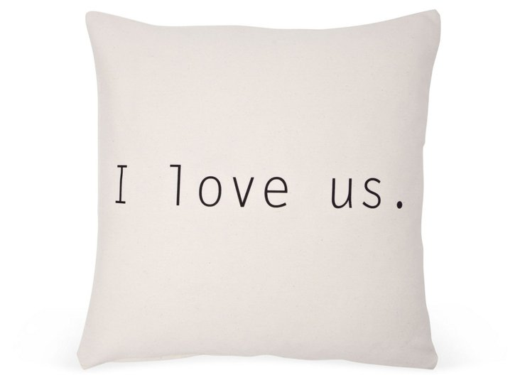 """I Love Us"" 20x20 Cotton Pillow, Ivory"