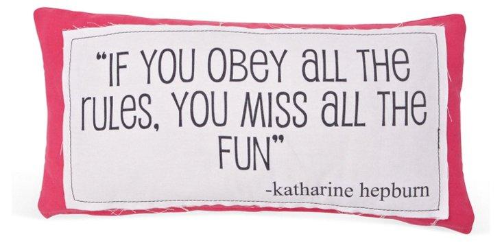 "Hepburn ""Obey"" 14x24 Pillow, Pink"