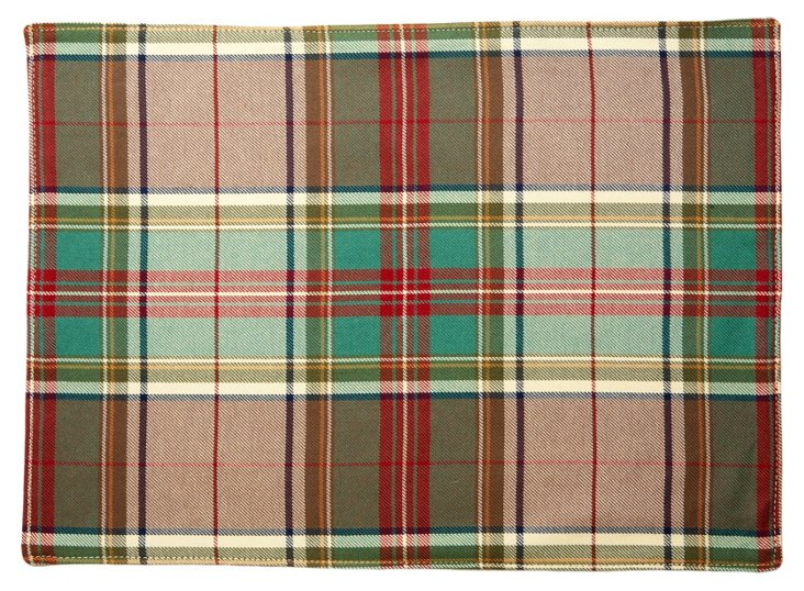 S/4 Plaid Place Mats, Red/Green