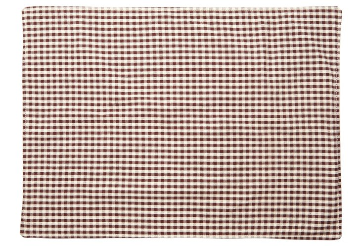 S/4 Gingham Place Mats, Brown