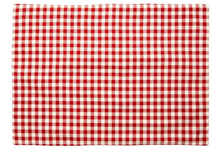 S/4 Gingham Place Mats, Red