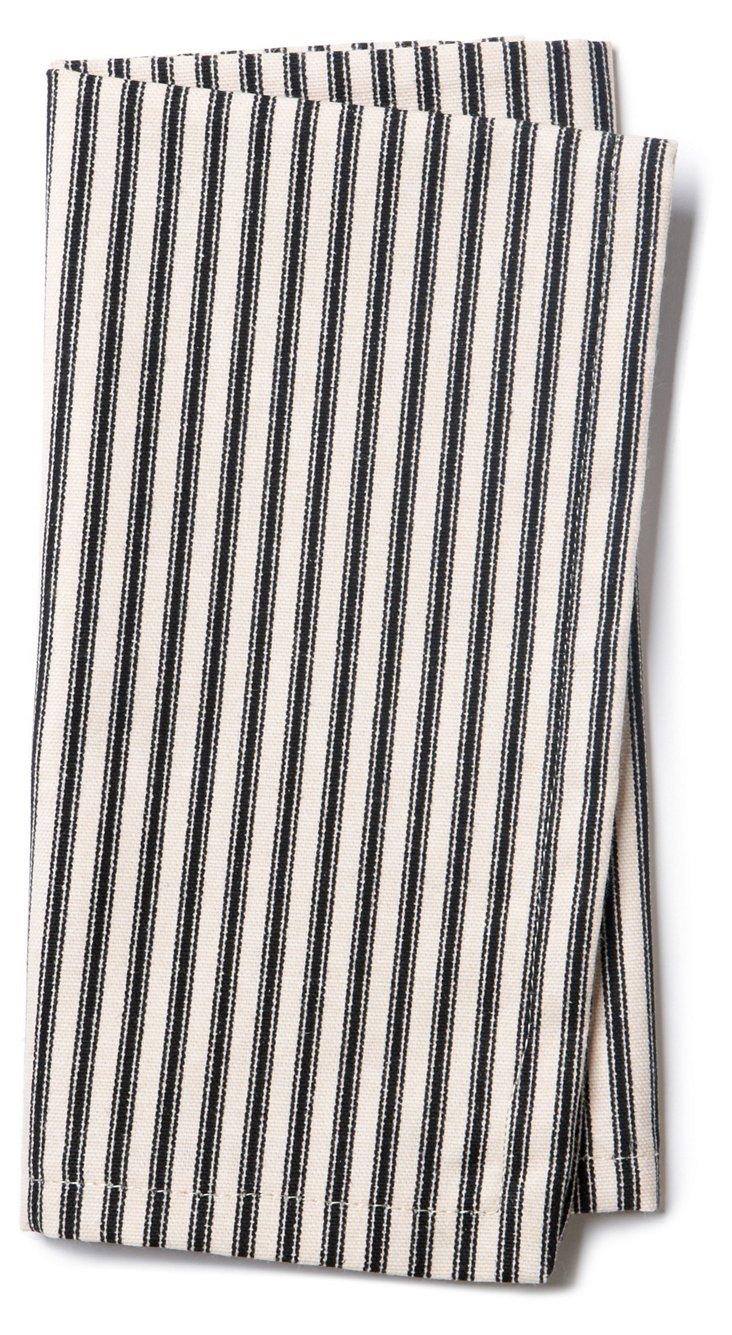 S/4 Striped Dinner Napkins, Black