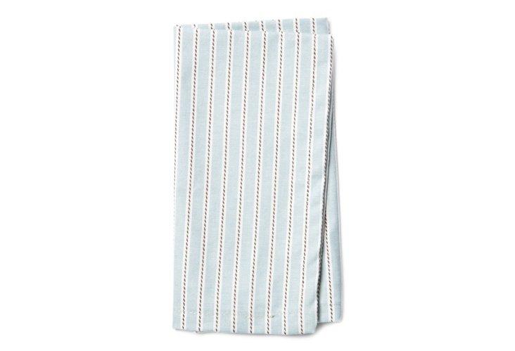 S/4 Striped Napkins, Spa Blue