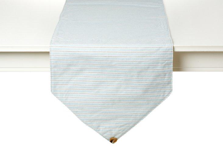 Striped Table Runner, Spa Blue