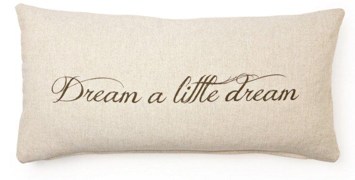 """Dream"" 12x24 Cotton Pillow, Natural"