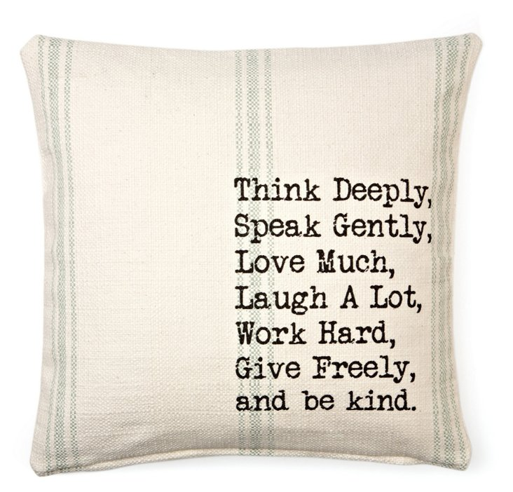 """""""Think"""" 20x20 Pillow, Ivory"""
